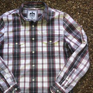 Express men's plaid button down shirt medium EUC